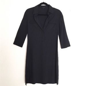 Theory- Black Linen collard dress
